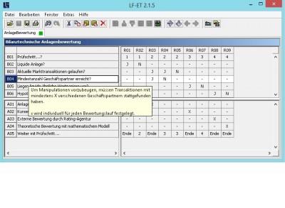 Feature des Entscheidungstabellen-Tools LF-ET: Hinterlegte Informationen werden automatisch als Tooltip angezeigt