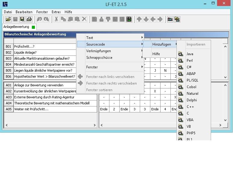 Feature des Entscheidungstabellen-Generators LF-ET: Es kann direkt hochperformanter Programmcode für viele gängige Programmiersprachen generiert werden