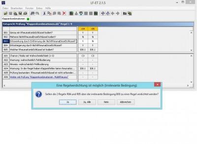 Feature des Entscheidungstabellen-Tools LF-ET: Vielfältige interaktive Prüf- und Optimierungsfunktionen, wie z.B. Regelverdichtungen über irrelevante Bedingungen