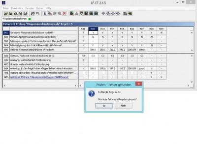 Feature des Entscheidungstabellen-Tools LF-ET: Automatische Qualitätssicherung, wie z.B. Redundanzfreiheit, Widerspruchsfreiheit und Vollständigkeit der Entscheidungstabelle